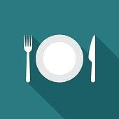 Plate icon with long shadow. Flat design style. Plate silhouette. Simple icon. Modern flat icon in stylish colors. Web site page and mobile app design element.