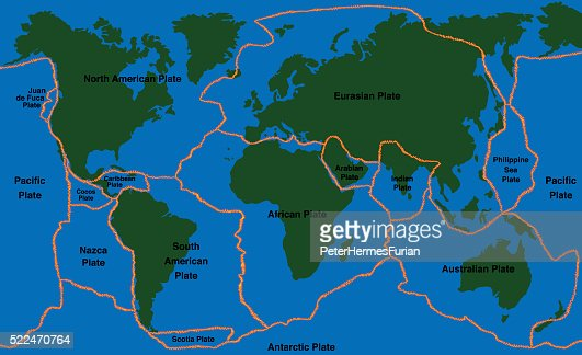 World Map Of Fault Lines.Plate Tectonics World Map Faultlines Vector Art Thinkstock