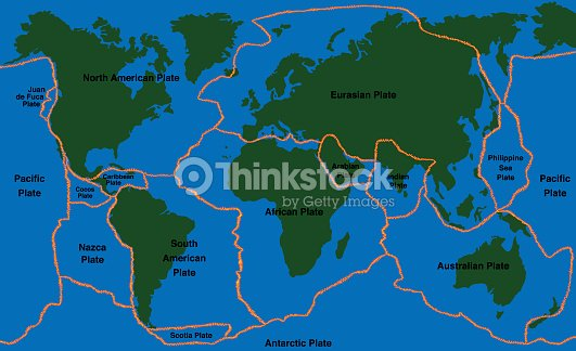 Plate Tectonics World Map Faultlines Vector Art | Thinkstock