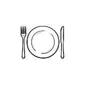 Plate with fork and knife hand drawn outline doodle icon. Dinnerware - plate with fork and knife vector sketch illustration for print, web, mobile and infographics isolated on white background.
