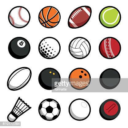 Play sport balls icon set isolated objects on white background : Vector Art
