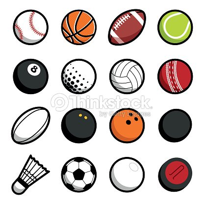 Play sport balls icon set isolated objects on white background : stock vector