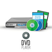 DVD player device that plays discs produced under both DVD-video and DVD-audio technical standards vector illustration isolated on white background