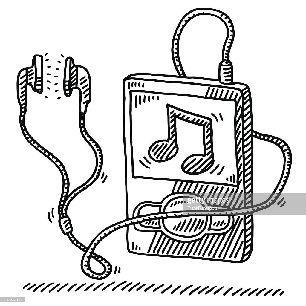 mp3 player music note earphone drawing vector art getty images