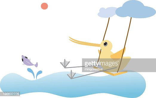 Playful Long-billed bird swing and chase fish : Vector Art