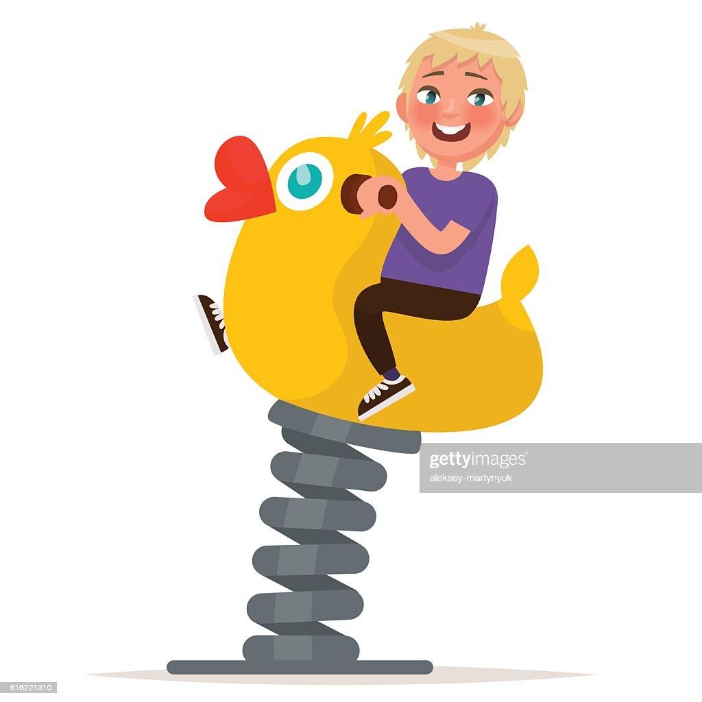 Playground. Boy swinging on spring swing. Vector illustration : Vector Art