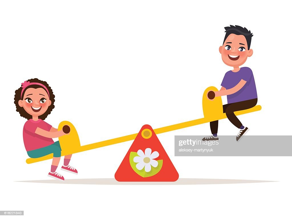 Playground. Children on a balance swing . Vector illustration : Vectorkunst