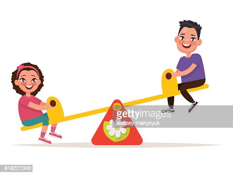 Playground. Children on a balance swing . Vector illustration : Vektorgrafik