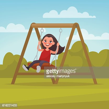 Playground. Girl swinging on a swing. Vector illustration : Vektorgrafik
