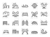 Playground icon set. Included icons as kids outdoor toy, sandbox, children parks, slide, monkey bar, dome climber, jungle gym and more.
