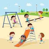 Vector illustration of children at the playground.