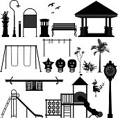 A set of playground park equipment and stuffs.