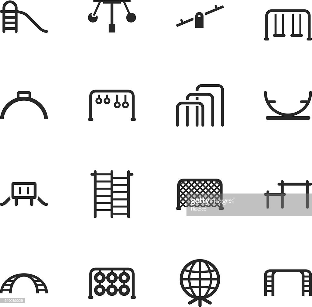 Playground Silhouette Icons Set 2 Vectorkunst | Getty Images