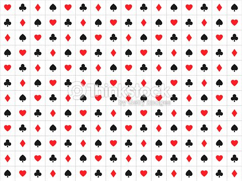 Playing Card Signs Seamless Pattern Casino Background With