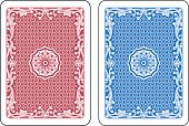 Red and blue cards back. Original decorations inspired by floral art nouveau elements.