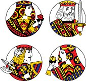 Round Shapes With Faces Of Playing Cards Characters Original Vintage Design Zip File