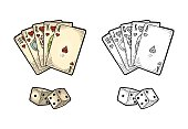 Playing cards poker and two white dice. Royal flush in hearts. Vector black and color vintage engraving illustration for poster, label, banner, web. Isolated on white background. Hand drawn design ele