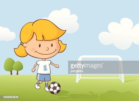 Playing Soccer Girl : Vector Art