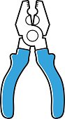 Blue pliers tool icon isolated.