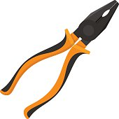 Vector illustration. Pliers with rubber handles in flat design isolated on white background