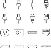 Plug and socket line icon set. Included the icons as electrical plug, usb, socket, audio jack, receptacle and more.