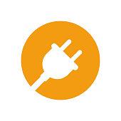plug icon white orange color