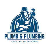 Plumbing design or icon template with retro or vintage style, perfect for your plumbing company brand