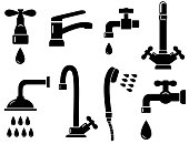 plumbing set with isolated faucet icons on white background