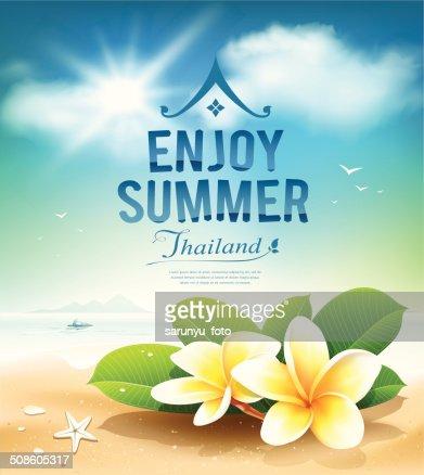 Plumeria flowers, enjoy summer greeting card : Vector Art
