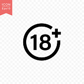 Plus 18 years movie icon simple silhouette flat style vector illustration on transparent background.