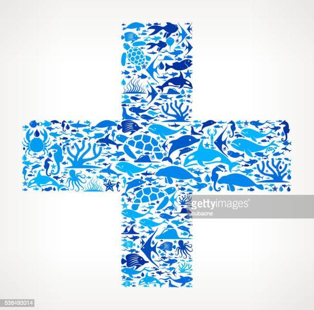 plus Ocean Marine Life Blue Icon Pattern