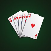 Pocker cards flush hearts hand vector eps 10