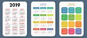 Calendar 2019. Colorful set. Week starts on Sunday. Basic grid