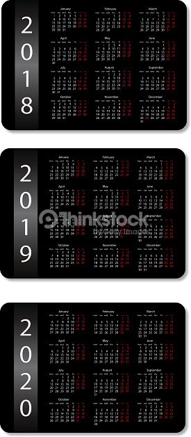 pocket calendar set 2018 2019 and 2020 years black design template vector
