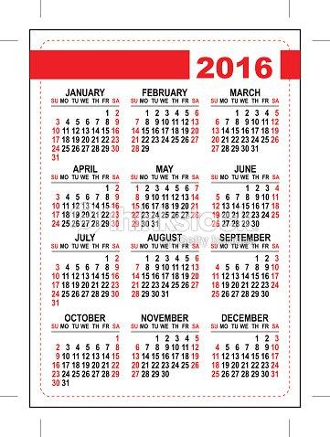 2016 Pocket Calendar Template Grid First Day Sunday Vector Art