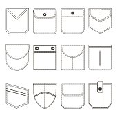 Different Pocket Thin Line Black Icon Set Part of Clothing Style Design Elements. Vector illustration