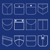 Different Pocket Thin Line White Icon Set Part of Clothing Style Design Elements. Vector illustration