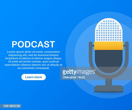 Podcast icon, vector symbol in flat isometric style isolated on color background. Vector illustration. : Vector Art
