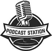 Podcast station. Emblem template with retro microphone. Design element for  label, emblem, sign. Vector illustration
