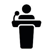Podium Icon Vector Person Public Speech for Presentation and Seminar with Microphone Glyph Pictogram illustration