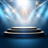 Illustration of an empty podium under spotlights