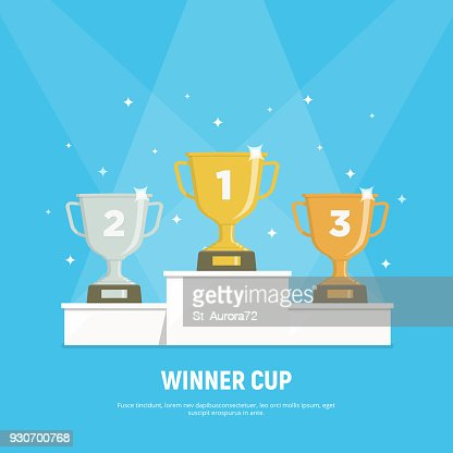 Podium winners. Gold, silver and bronze cups on podium. Vector illustration in flat style. : stock vector