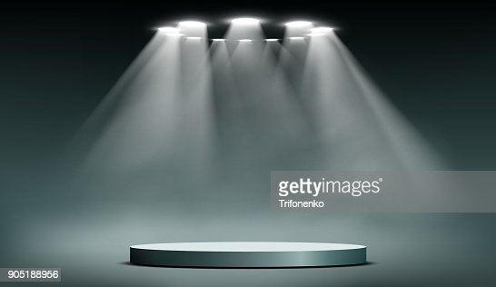 podium with searchlights : stock vector