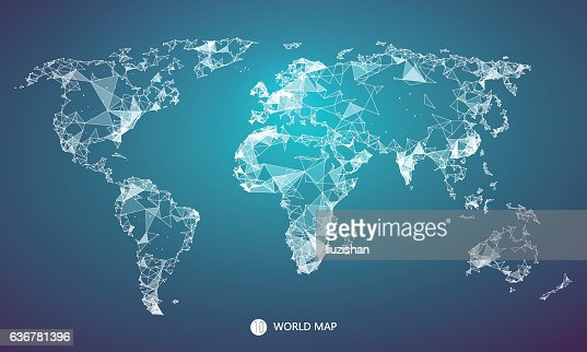 Point, line, surface composition of the world map. : Vector Art