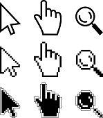 Vector illustration hand cursor magnifier. Black and white illustration