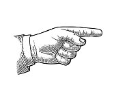 Pointing finger. Vector black vintage engraved illustration isolated on a white background. Hand sign for web, poster, info graphic