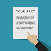 Pointing hand with template document in flat style.