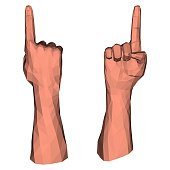 Pointing up direction by low poly hand and index geometric 3d finger
