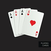 Poker cards on dark background. Gambling concept, casino mobile apps. Vector design.