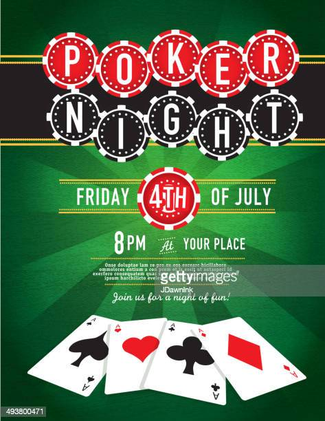 Poker Night chip and Casino game night invitation design template